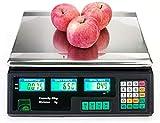 FGDFGDG Escalas Electronic Digital Precio de pesaje Pesaje Precio Comercial Pesaje Vegetal con Pantalla LCD para Tienda de Salida al por Menor Cocina Restaurante Comida Carne y Fruta,40kg/2g