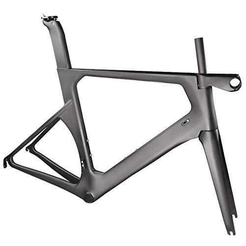 LJHBC Marco de Bicicleta Cuadro de Carretera de Fibra de Carbono EPS Patrón de Carbono UD Marco de una Pieza Enrutamiento Oculto con Tallo 50/52/54/56 / 58cm (Size : 54cm)