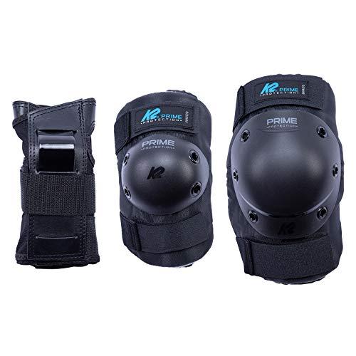 K2 Skates Damen Prime Guard M Pad Set, black-blue, L (Knee: A:41-45cm B:36-39cm / Elbow: A:27-30cm B:26-29cm / Wrist: A:22-24cm B:19-21cm)