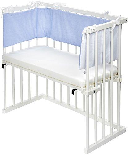 Dreamgood Beistellbett weiß inkl. Matratze Prime Air und Nestchen blau/weiß