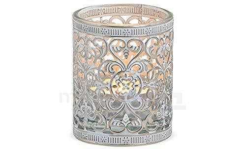 Matches21 - Portavelas de cristal con diseño oriental de metal plateado envejecido,...