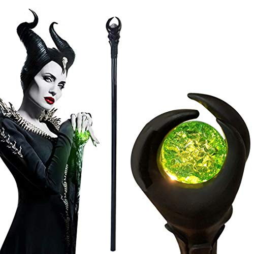 Flylife 51inch Deluxe Maleficent Staff with Green Light Orb, Wizard Scepter Magic Wand Halloween Prop (Green Light)