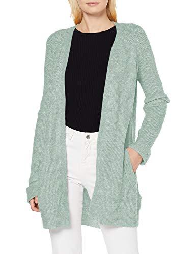 PIECES PCELLEN LS Long Knit Cardigan Noos Chaqueta de Punto, Jadeite/Detalle: CP, M para Mujer