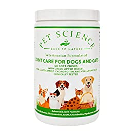 Pet Science Joint Care for Dogs and Cats, Clinically Tested, Assists Mobility (60 Soft Chews)