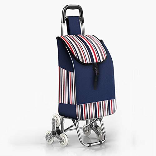 CClz 40L Große Einkaufstrolley Tasche,Tragbar Handkarre Faltbare Mit Rädern,Einkaufstrolley Tasche Abnehmbare Tasche,Robust Climbable Treppen Kletterwagen-Blau 42x34x92cm