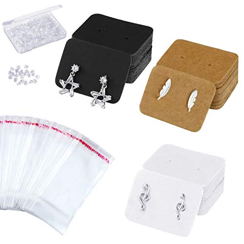 300 Pieces Earring Cards Earring Display Cards with 300 Pieces Clear Cellophane Bags 300 Pieces Earring Back and Plastic Earring Storage Containers for Jewelry Making