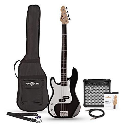 LA Linkshänder-Bassgitarre Black mit 15W-Verstärker und Zubehör