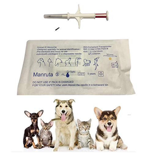 134.2KHZ FDX-B ISO 11784/11785 Animal Microchip Glass Transponder with Syringe for Pet Dog Cat 1.4X8mm Size 20 Packs