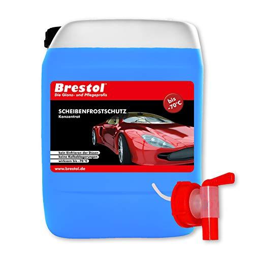 Liquide lave-glace anti-gel 10 l, concentré à 70 °CRobinet 51 mm – Supplément système de lave-glace, anti-gel, transparent, dégivrant pare-brise, concentré – Brestol.