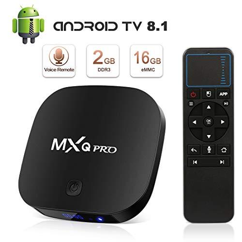 Android 8.1 TV Box, Superpow MXQ PRO S Smart TV Box Quad Core 2GB RAM+16GB ROM,widevine L1,4K*2K UHD H.265, HDMI, USB*2, WiFi Media Player, Android Set-Top Box con Telecomando Vocale (black)