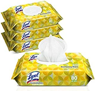Household Cleaning Wipes Lemon and Lime Scented, 4 Bags of 80 Wet Wipes - 320 Total Wipes…