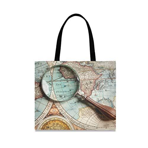 XiangHeFu Lässige Handtasche Wiederverwendbare Einkaufstasche Lupe Suche Antike Weltkarte Lupe Arbeitsmode Große Kapazität