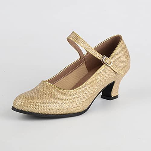 ZJHTK Ladie Zapatos de danza de tango latino, zapatos de baile de tango latino, parte inferior suave, estilo de hebilla de lentejuelas, cómodo, antideslizante, para fiesta de salón, dorado, 4 UK