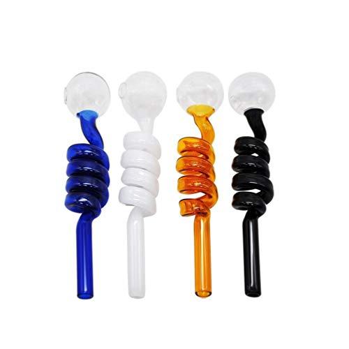 10pcs tuyau de brûleur à mazout en verre incurvé pyrex eau fumante petits tuyaux pour accessoires de bong avec 14cm (Couleur aléatoire)