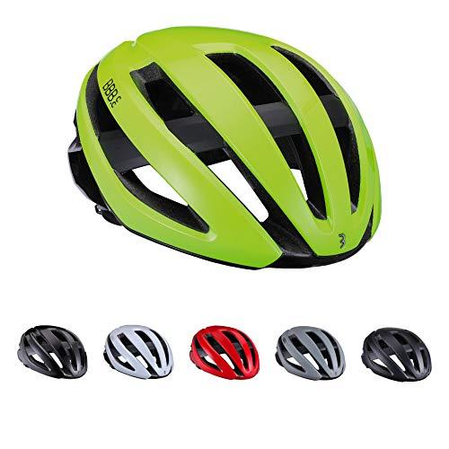BBB Cycling Maestro BHE-09-Casco da Ciclismo da Donna e da Uomo, Sistema Airflow Cooling Lightweight | Bici da Corsa ed e-Road | BHE-09 (55-58 cm) Unisex Adulto, Giallo Fluo Lucido, M (55-58cm)