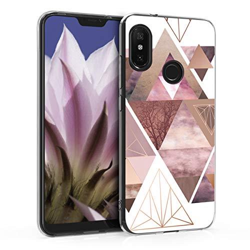 kwmobile Funda Compatible con Xiaomi Redmi 6 Pro/Mi A2 Lite - Carcasa de TPU y triángulos en Rosa Claro/Oro Rosa/Blanco