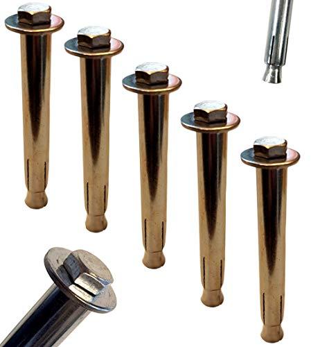 Set di 5 ancoraggi per carichi pesanti M6 x 90 mm, viti esagonali, ancoraggio a cuneo per il fissaggio di blocchi di parcheggio, gazebo, tasselli per calcestruzzo e muratura, 5 viti di espansione