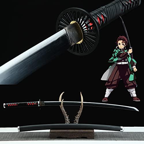 Yongli Sword Demon Slayer: Kimetsu no Yaiba Japanese Anime Kamado Tanjirou Kochou Shinobu Cosplay Replica Sword Game Carbon Steel (Kamado Tanjirou-Handmade)