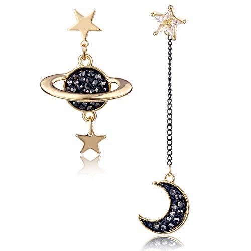 HORHEAR 1 Par de Pendientes Colgantes Asimétricos Chapados en Oro Luna y Estrella para Mujer, Pin de…