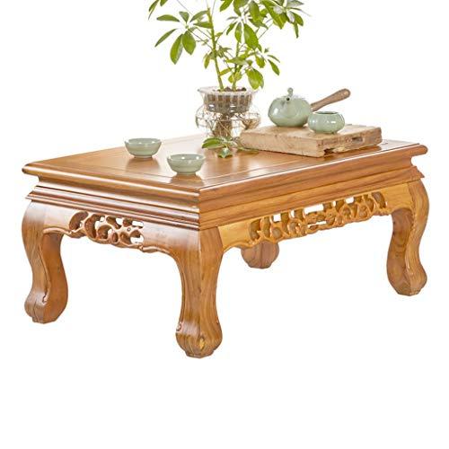 Couchtisch chinesischer Teetisch aus Massivholz Ulme Tatami-Buchtfenstertisch Nachttisch (Color : Brown, Size : 70 * 45 * 31CM)