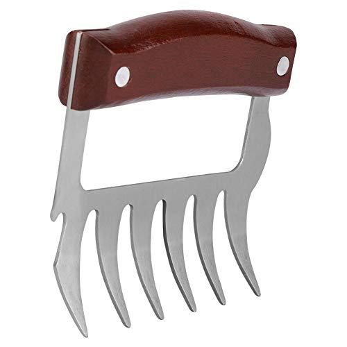 Artigli per barbecue in acciaio inossidabile con forchetta per carne trituratore utensili per tagliare la grotta con manico in legno per la cucina del barbecue