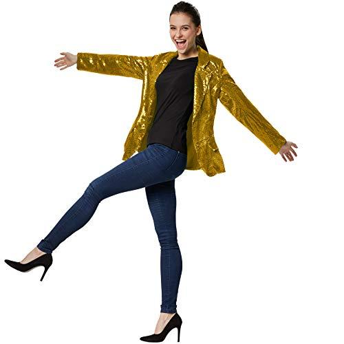 dressforfun 900995 Chaqueta de Traje para Mujer, con Lentejuelas, Fiesta Disco -Varios Modelos (M | Dorado | No. 303847)