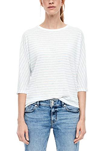 s.Oliver Damen Flammgarn-Shirt mit Streifen blue stripes 44