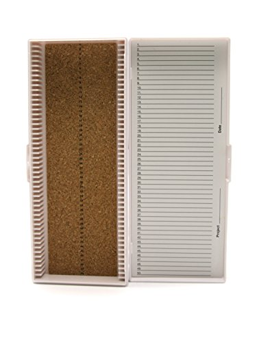 Heathrow Scientific HD15996C White Cork Lined 50 Place Microscope Slide Box, 8.3' Length x 3.38' Width x 1.25' Height