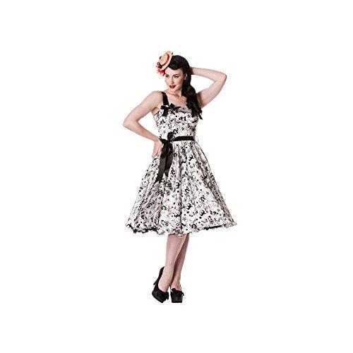 Hell Bunny - Tattoo Flock Dress Rockabilly Kleid Weiss/Schwarz (XS)
