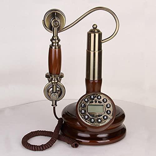 MHTCJ Solide Wood Landline Téléphone Salon Antique Téléphone Vintage Vintage Téléphone Fixé Accueil Téléphone Ligne Fixe