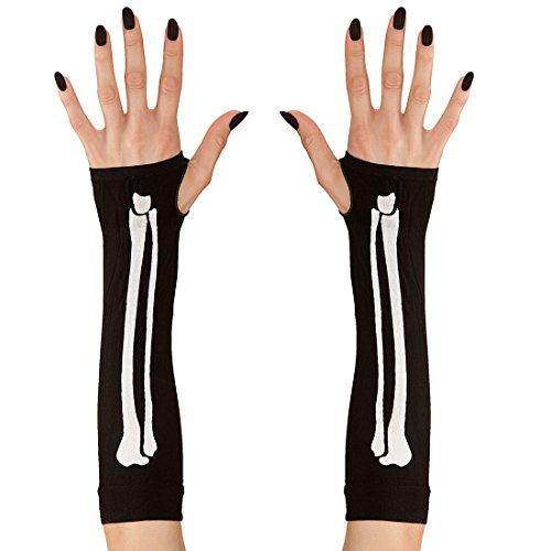 Amakando Knochen Armstulpen Fingerlose Skelett Handschuhe Damenhandschuhe Gerippe Halloween Skeletthandschuhe Gothic Damenkostüm Accessoire Knochenhandschuhe Damen Stulpen
