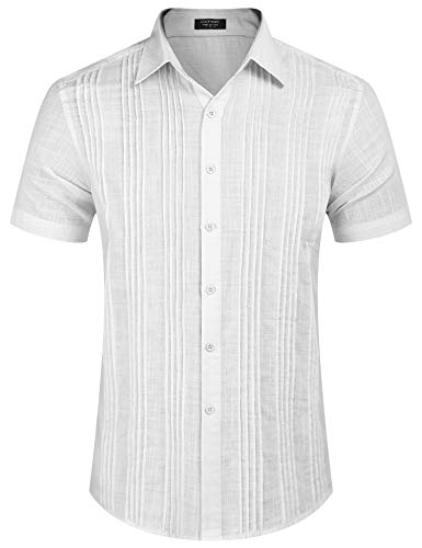 COOFANDY Men's Lightweight Breezy Short Sleeve Mexican Cuban Guayabera Dress Shirt (White M)