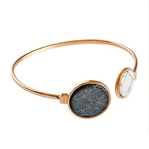 Vektenxi Weiß schwarz Faux Marmor Stein Runde geometrische Armreif Gold Kreis Manschette Armreif für Frauen Farbe 3 sehr praktisch