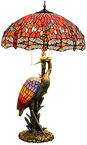 CMMT Lámpara de escritorio Lámpara de mesa creativa de vidrio colorido sala de estar restaurante Hotel decoración lámpara de mesa rojo libélula grúa arte lámpara