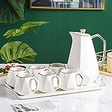 SSMDYLYM Cerámica Coffee Set Northern Europa Phnom Penh Multicolor Treen Tea Pot Bandeja Bandeja Establecer Adornos de Decoración de Cocina (Color : White)