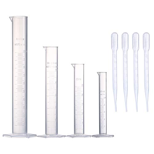 Young4us Measuring Cylinder Set, 4 Sizes Graduated Polypropylene Lab Test Tubes in 100 ml, 50 ml, 25 ml, 10 ml for Laboratory, Science Experiments with 4 Plastic Droppers in 3 ml
