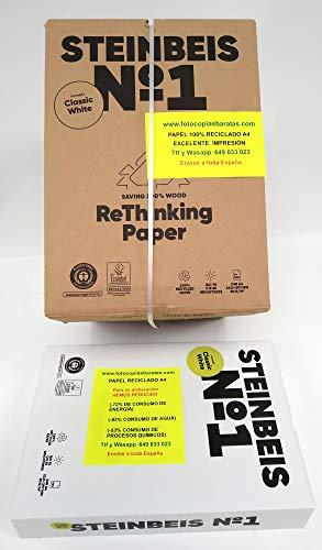 Papel Reciclado Ecológico Din A4 para Impresoras y Fotocopiadoras Papel 100% Reciclado y Ecológico de 80grs Sin Atascos Certificado Iso 70 Ecolabel 011002 Caja 2500 hojas en 5 paquetes