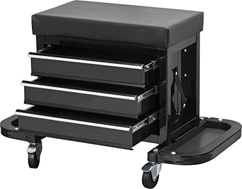 Torin APD2018B Rolling Creeper Garage/Shop Seat: Padded Mechanic Stool with 3 Drawer Tool Chest Storage, Black