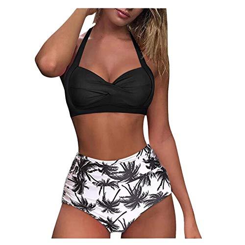 2021 Nuevo Mujer Trajes de Baño Sexy Bikini Mujer Dos Piezas Moda Ropa de Playa Push up Conjunto de Bikinis Color sólido Cuello Halter Bikini Retro Tankinis Beachwear Cintura Alta Bañador
