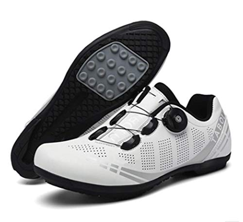 Govoland Mountain Road Bike Men's and Women's Cycling Shoes Bicycle Shoes Indoor/Outdoor Without Lock(40, White)