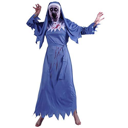 SEA HARE Disfraz de Monja Sangrienta para Mujer Adulta de Halloween (Azul)