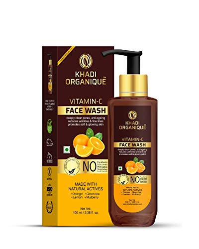 KHADI ORGANIQUE Vitamin C face wash deeply clean pores, anti aging reduces wrinkles and fine lines 100 ml
