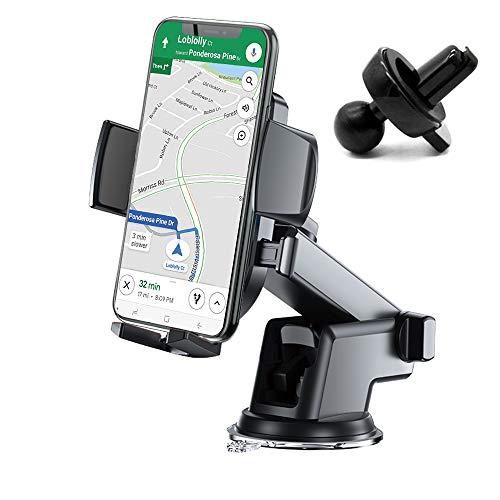 N/F Soporte para smartphone para coche, diseño más nuevo, salpicadero y salida de aire y parabrisas para coche, rotación de 360 °, brazo extensible