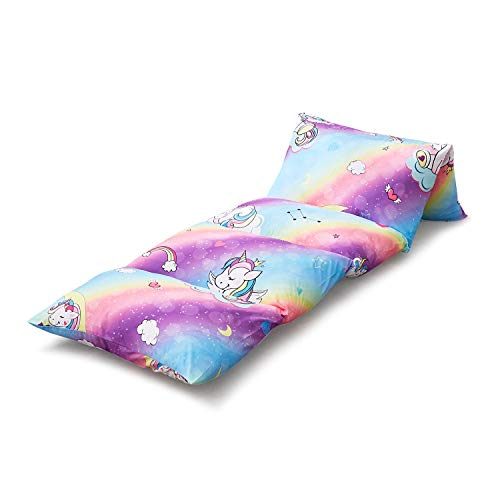 Wake In Cloud - Kids Floor Pillow Case (Cover Only), Colorful Unicorns Rainbow, Microfiber Lounger...