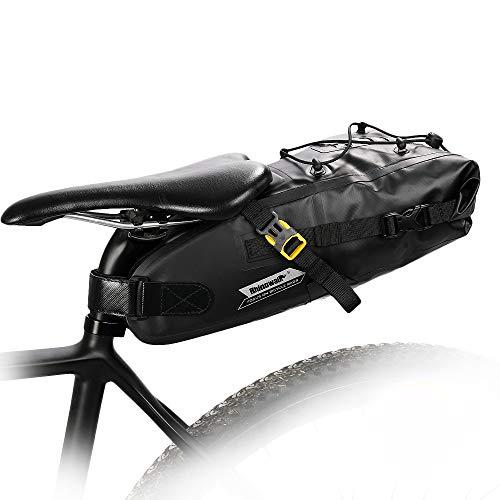 Selighting Impermeable Bicicleta Alforja Asiento Trasero Carrier Bolsas de Sillín Alforjas de Ciclismo (Negro-5L, 5L)