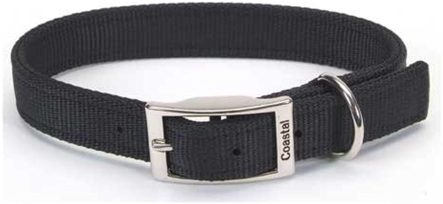 Nylon Double Layer Dog Collar Size  1  W x 22  D, color  Black