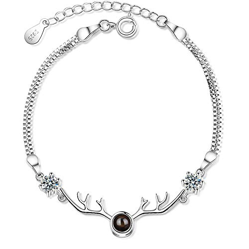 925 Sterling Silver Deer Reindeer Cubic Zirconia Bracelet for Women Girls Made with 100 Language I Love You Projection Stone Anniversary Birthday Jewellery Gift