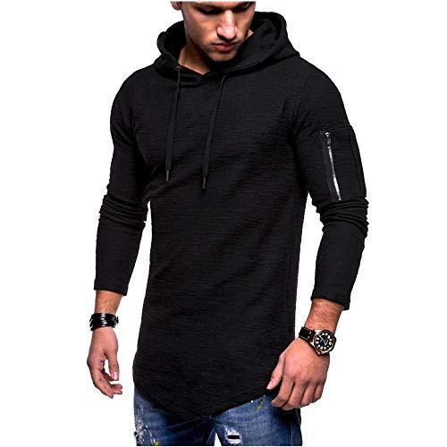 Herren Kapuzenpullover Slim Fit Baumwolle-Anteil Moderner weißer Herren Hoodie-Sweatshirt-Pulli Langarm Herren schwarzer Pullover-Shirt mit Kapuze