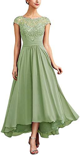 Snow Lotus Robes longues en mousseline de soie pour femme avec manches courtes, vert sauge, 50