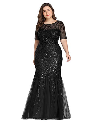 Women's Embroidered Prom Dress Long Formal Evening Party Dress Black US26